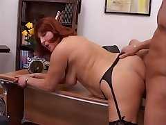 Hot tits redhead mature chick Desire gets hot fuck in office