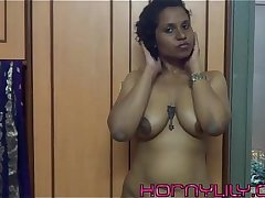indian babe lily inserts computer mouse in pussy